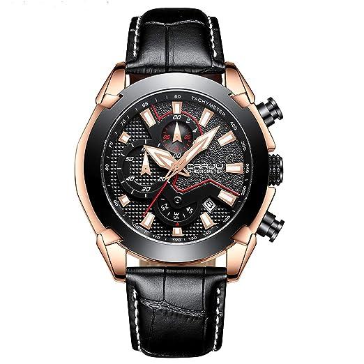 Relojes Hombres Moda Vestido Casual Negro Cuero Impermeable Relojes Deporte Cronógrafo Reloj Oro Negro Cuarzo Reloj: Amazon.es: Relojes