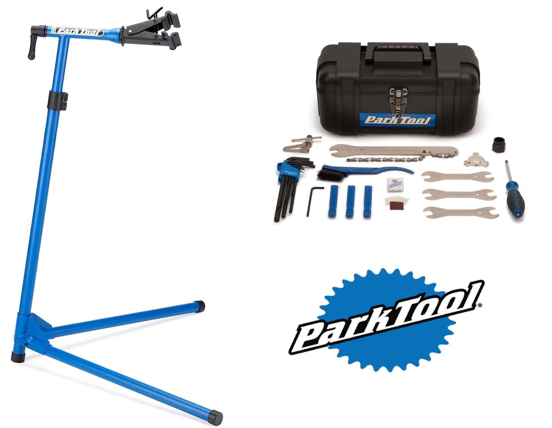 Park Tool PCS-9 Home Mechanic Repair Stand + Park Tool SK-2 Home Mechanic Starter Kit Bundle