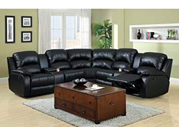 Beau 3 Pc Wolcott Contemporary Black Bonded Leather Reclining Sectional Sofa Set  With Center Drink Consoles