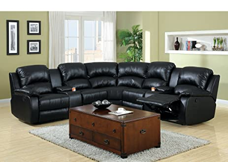 Amazon 3 pc Wolcott Contemporary black Bonded Leather