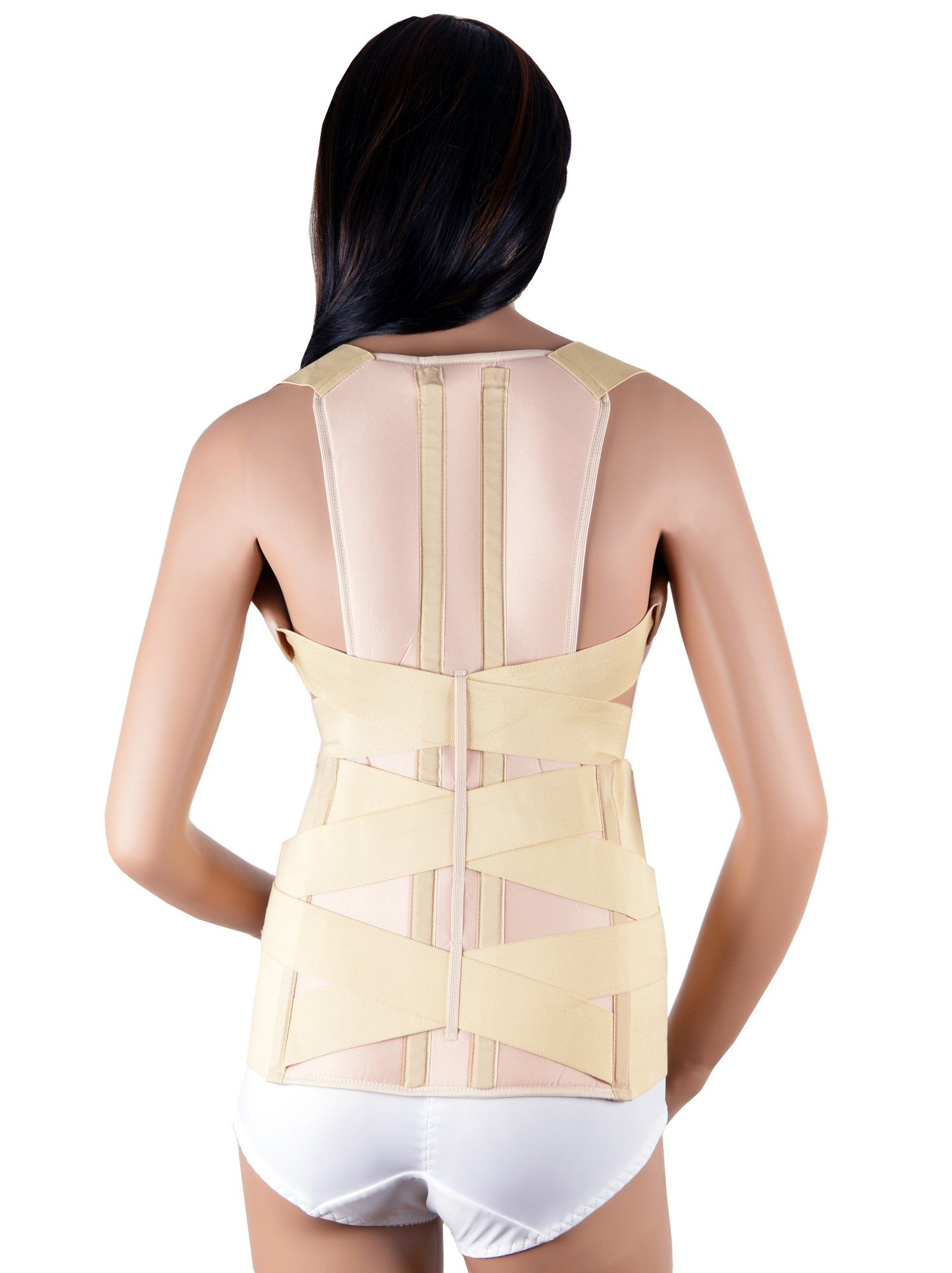 ASSISTICA® Medical Scoliosis Support Brace, Firm Posture Corrector with 2 Back Metal Splints (X-Large) by Assistica