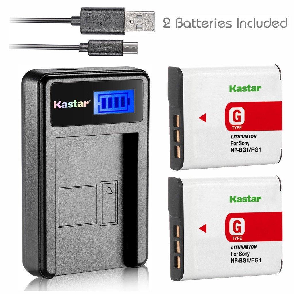 Kastar Battery (X2) & LCD Slim USB Charger for Sony NP-BG1 NPBG1 NP-FG1 NPFG1 and Cyber-shot DSC-W120 W150 W220 DSC-H3 H7 H9 H10 H20 H50 H55 H70 DSC-HX5V DSC-HX7V DSC-HX9V DSC-HX10V DSC-HX30V