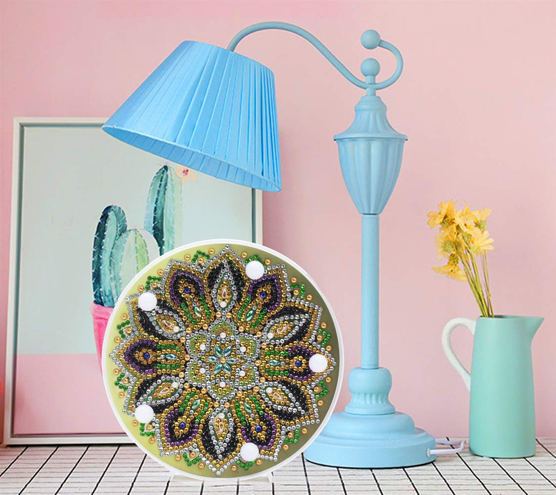 Full Round Resin Rhinestone Embroidery Kit Bedside Lamp Arts Craft for Decor or Gift Wgniip 5D Diamond Painting Kit Flower Mandala with LED Light DIY Diamond Artwork for Adults or Kids 6X6 inches