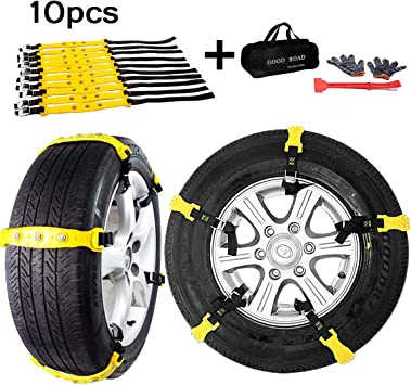 MeiLiMiYu Snow Chains for SUV Car Anti Slip Adjustable Universal Emergency Tire Chains for Tire Width 7.2-11.6,10 Pcs