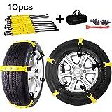 Aiung Tire Snow Chains, Emergency Anti Slip Snow Tire Chains for Car/ Suvs/ Trucks/ Pickups, 10 Pcs Adjustable Tire…