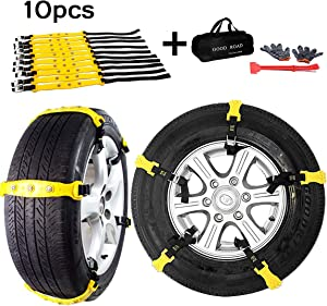 Aiung Tire Snow Chains, Emergency Anti Slip Snow Tire Chains for Car/ Suvs/ Trucks/ Pickups, 10 Pcs Adjustable Tire Chain