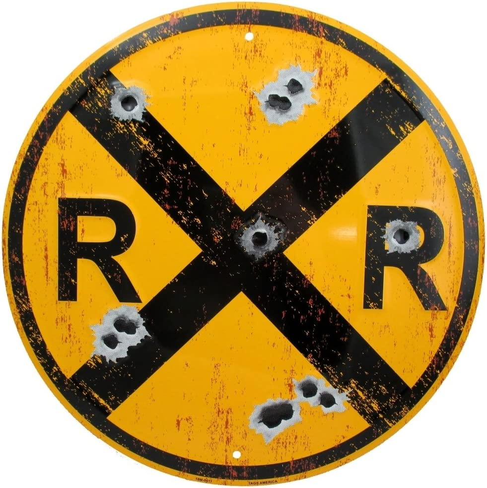 Vintage Railroad Crossing Sign, Distressed 12 Inch Round Metal RR XING Room Wall Décor, Railfan, Train Lover and Enthusiast Gifts