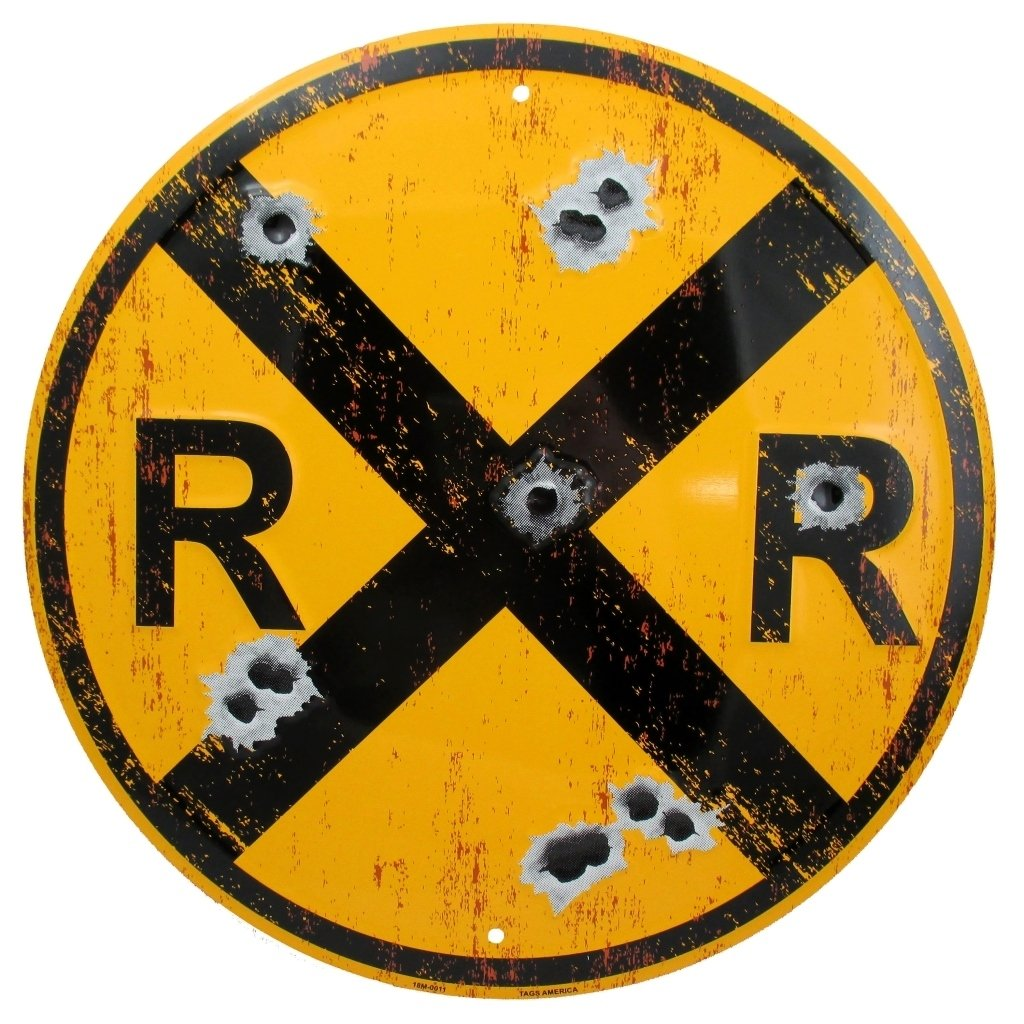 Amazon.com: Vintage Railroad Crossing Sign, Distressed 12 Inch Round ...