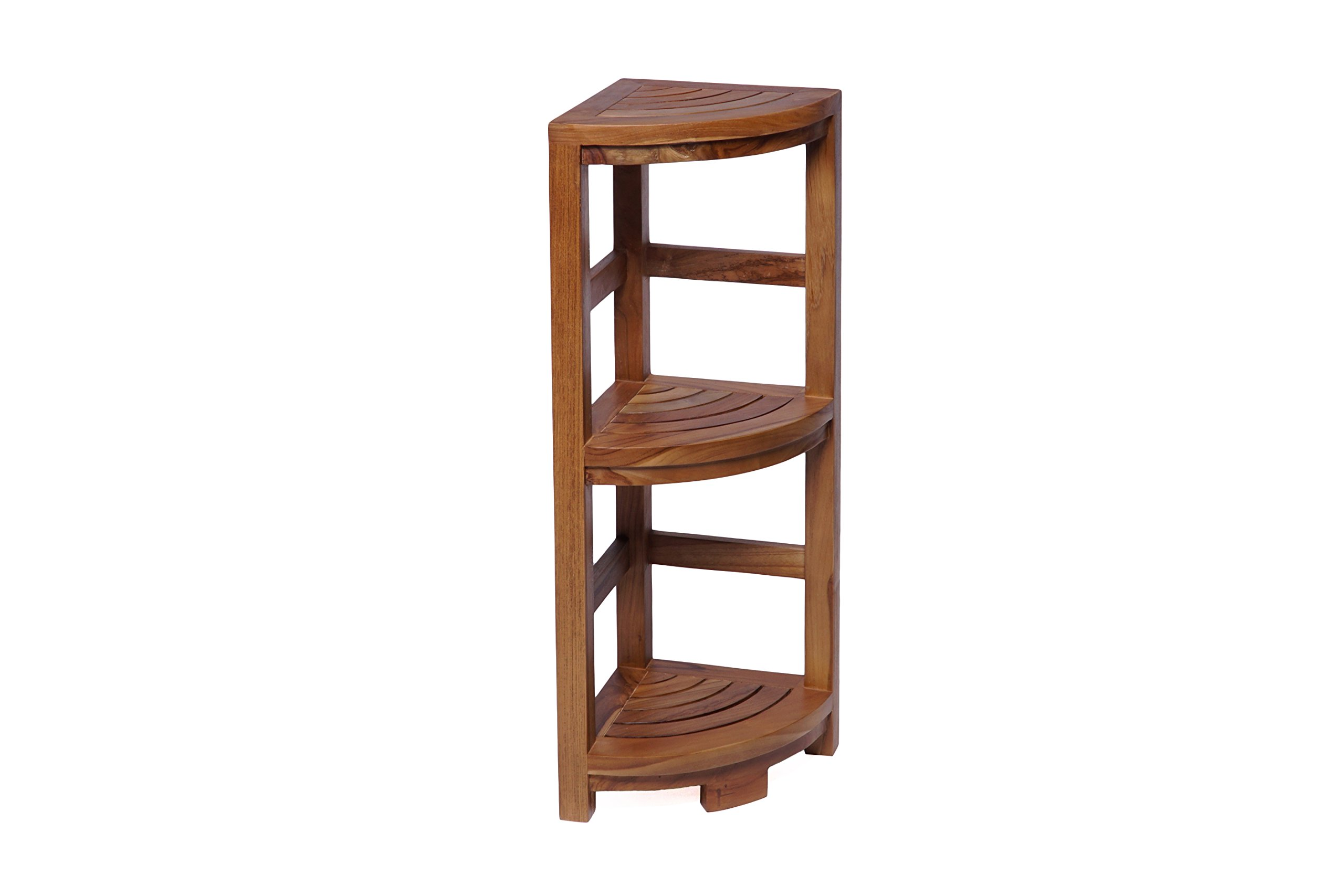 Teak Boutique Corner Shelf 3-Tier Rounded Wood Madeline by (Natural)