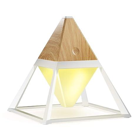 Lamparas LED de Mesa Luz Mesita Noche Portátil USB Recargable con Cambio de Color y Función de Brillo Ajustable para La Oficina Madera Clara