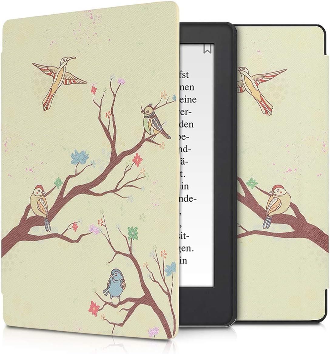 Oiseaux Orange-Marron-Beige Housse avec Rabat magn/étique en Simili Cuir kwmobile /Étui liseuse Compatible avec Kobo Aura H2O Edition 2