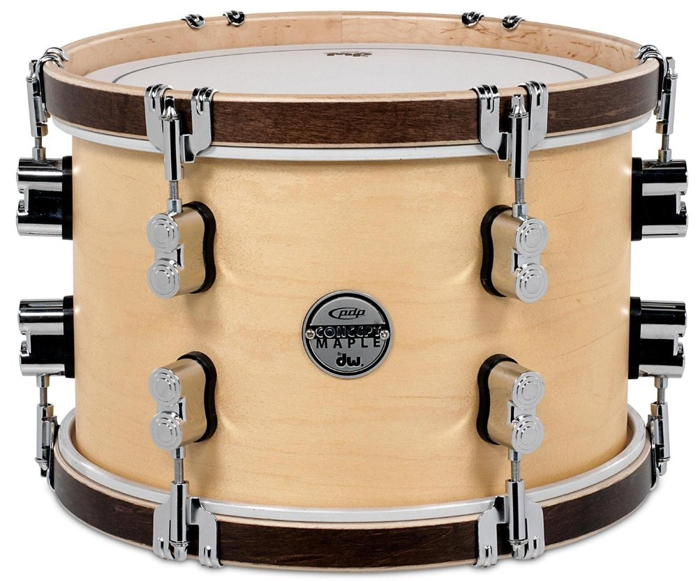PDP Concept Maple Classic Mounted Tom -Natural with Tobacco Hoops by Pacific Drums