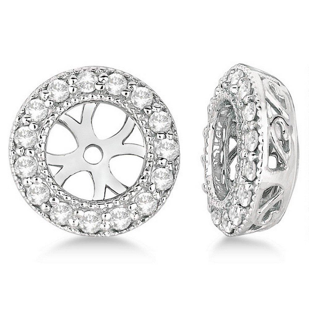 Vintage Round Cut Diamond Earring Jackets 14k White Gold (0.27ct)
