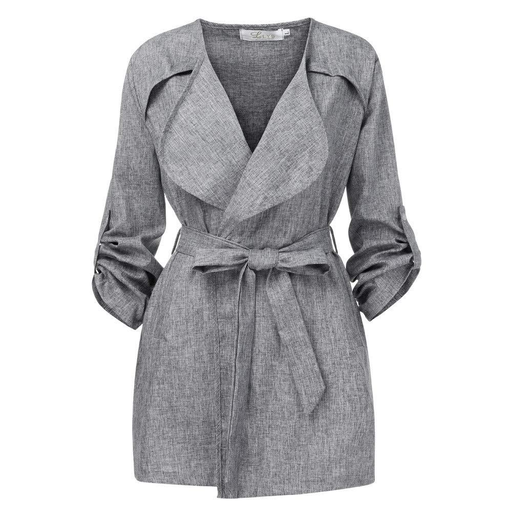 Women Loose Long Sleeve Solid Coat Waist Tops Jacket Windbreaker Parka Outwear Cardigan with Belt SANNYSIS RWTWWT-WYT1027022A
