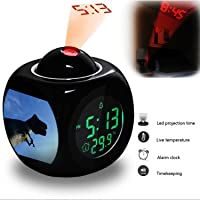 Projection Alarm Clock Wake Up Bedroom with Data and Temperature Display Talking Function, LED Wall/Ceiling Projection, Dinosaur-358.461_cloud sky jumping statue blue extreme sport sculpture