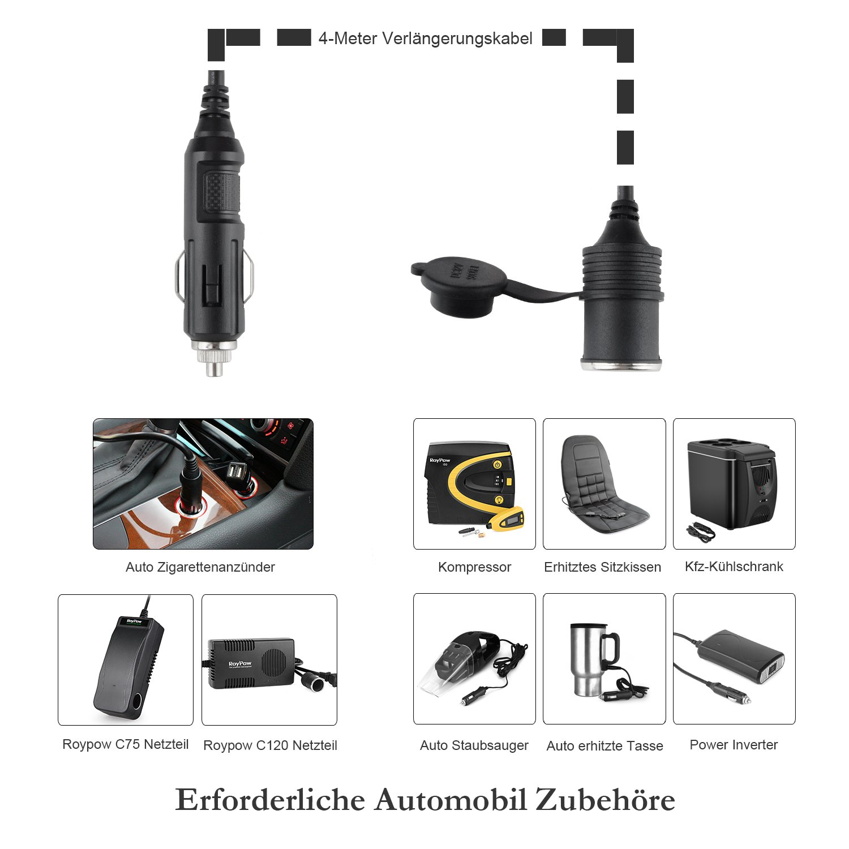roypow cl40/presa accendisigari femmina cavo di prolunga con pesanti 15/USB a Maschio a Femmina Connettore sigarette per 12/V 24/V Auto dispositivi Camion 4/m di lunghezza furgone camper