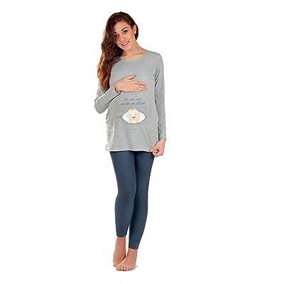 Premamy - T-Shirt pour maternité, style imprimé, dans les deux sens coton stretch, tenue decontractèe