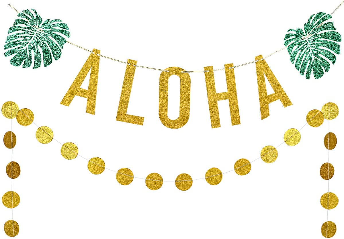 Gold Glittery ALOHA Green Leaves Garland and Gold Glittery Circle Dots Garland(25pcs Circle Dots),Hawaiian Tropical Luau Beach Summer Party Decoration Supplies