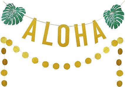 ,Hawaiian Tropical Luau Beach Summer Party Decoration Supplies 25pcs Circle Dots Gold Glittery ALOHA Green Leaves Pineapple Garland and Gold Glittery Circle Dots Garland