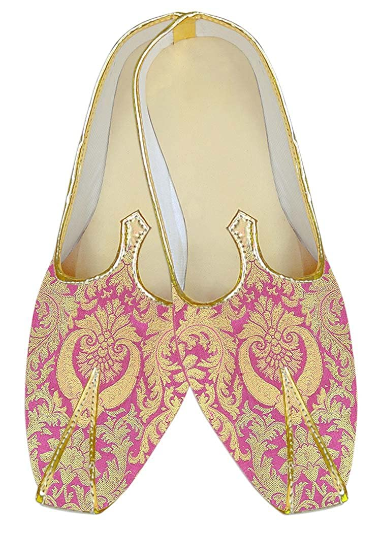 INMONARCH Hombres Boda Zapatos Kheenkhap Rosa Floral Dorado MJ18413 47 EU