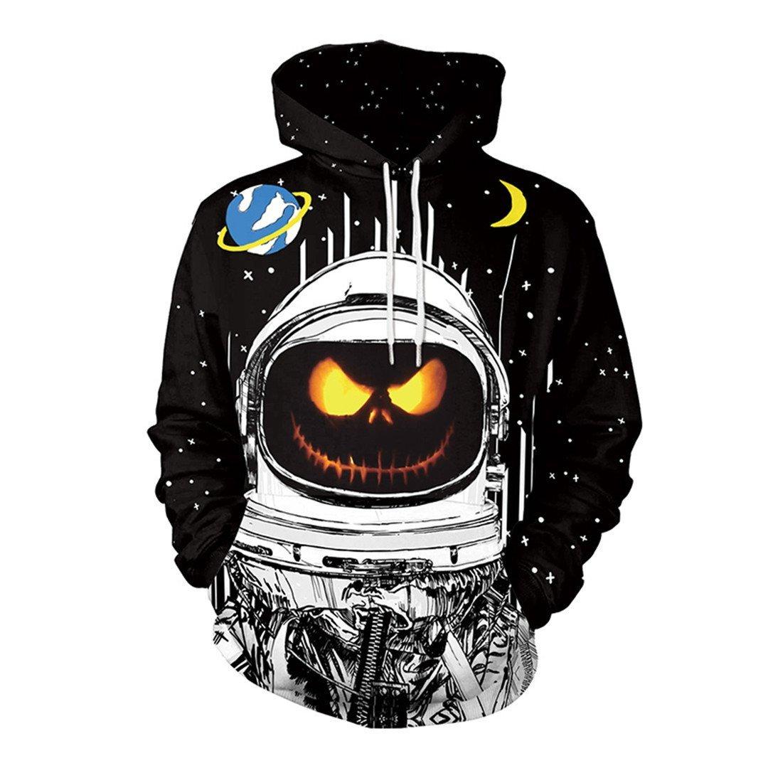 Amazon.com: 3D Hoodie Halloween Pumpkin Astronaut Ladies Men Sweatshirt: Clothing
