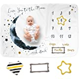 "Luka&Lily Baby Monthly Milestone Blanket for Baby Boy and Girl, Baby Photo Blanket for Newborn Baby Shower, Monthly Blanket for Baby Pictures, Includes Bandana Drool Bib + 2 Frames, Large 60""x40"""