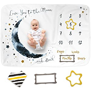 "Luka&Lily Baby Monthly Milestone Blanket for Baby Boy and Girl, Personalized Baby Blanket for Newborn Baby Shower, Month Blanket for Baby Pictures, Includes Bandana Drool Bib + 2 Frames, Large 60""x40"""