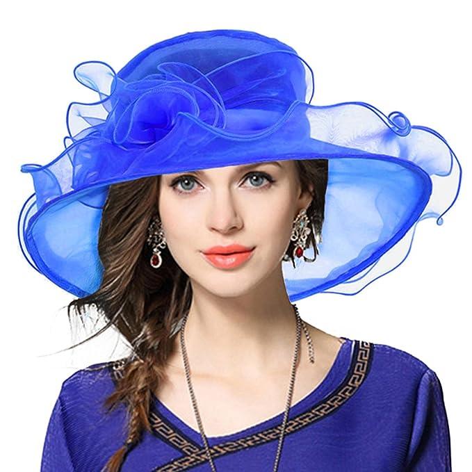 bbb96b760235f VECRY Lady Oaks Derby Church Hat Wedding Dress Wide Brim Hat (Blue ...