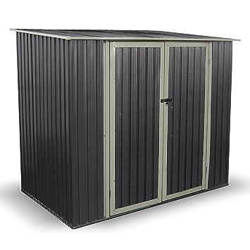 5 x 7 ft Combo Metal jardín caseta PENT roof al aire libre doble puerta cobertizo