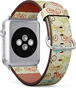 Compatible with Apple Watch Series 6/5/4/3/2/1 (Small Version 38/40 mm) Leather Wristband Bracelet Replacement Accessory Band + Adapters - Retro Bike