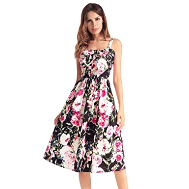 957670b73fb80b Image Unavailable. Image not available for. Color  Antaina Black Floral  Print Bow Cocktail Night Out Party Cute Pleated Swing Dress
