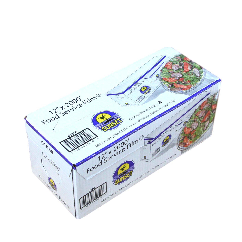 Plastic Food Film Seal Wrap in Cutter Dispenser, Stretch Tight, Food Service Grade, 12'' x 2000' Square Feet Roll