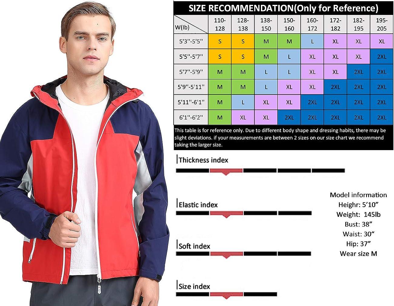 Arasiyama Mens Lightweight Hooded Raincoat Slim Fit Casual Windbreaker Waterproof Rain Jacket Sportswear for Outdoor