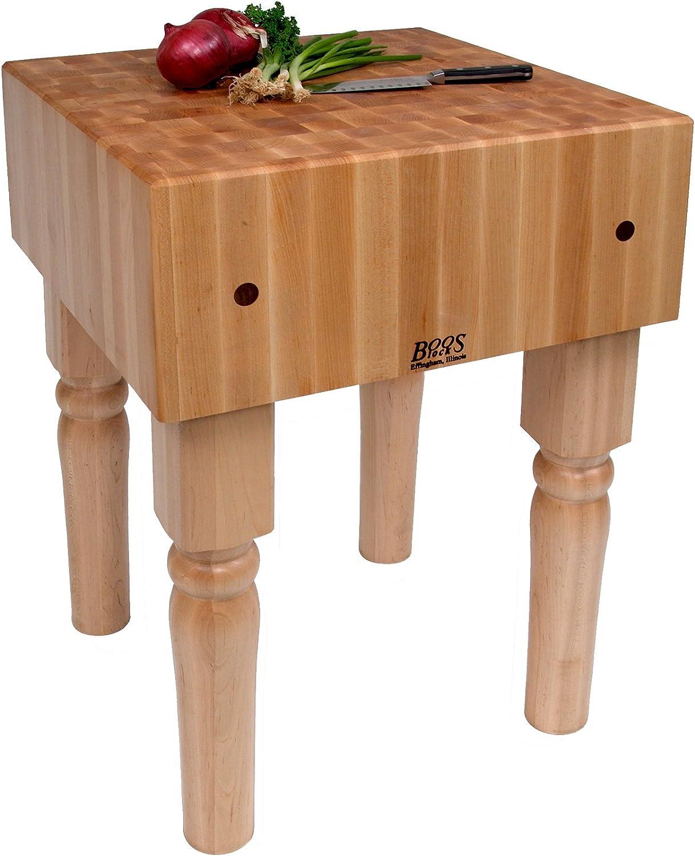 Amazon Com John Boos Ab01 End Grain Butcher Block Table Natural Maple Furniture Decor