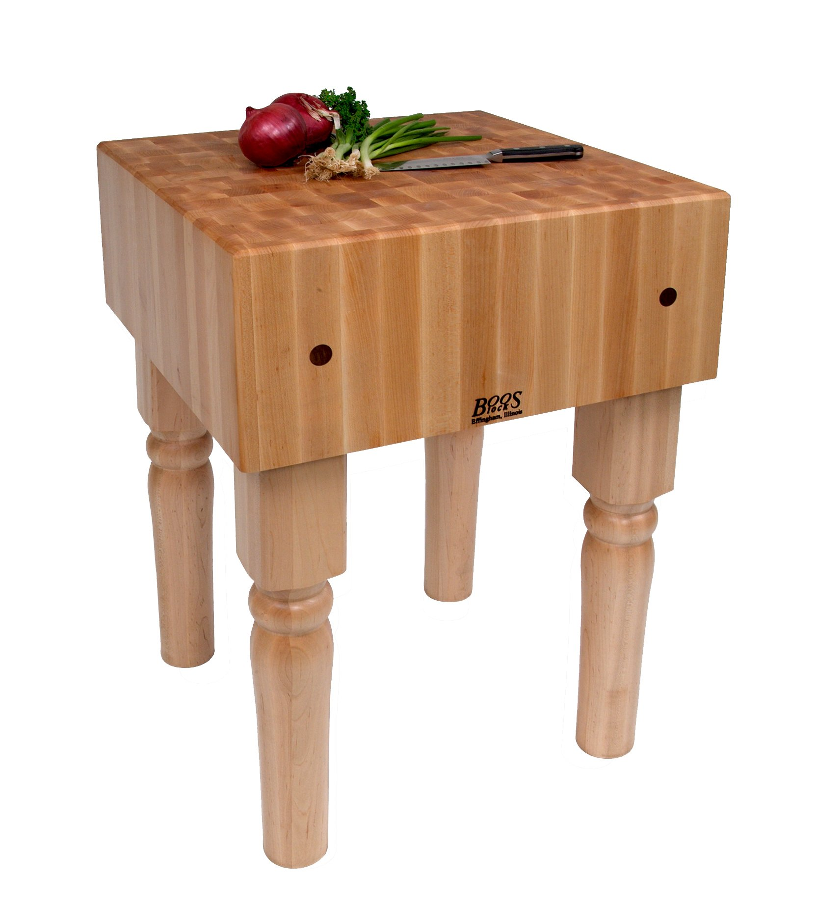 John Boos AB01 Maple End Grain Butcher Block Table, 34 inches tall, 18'' x 18'' x 10 Inch Butcher Block Top