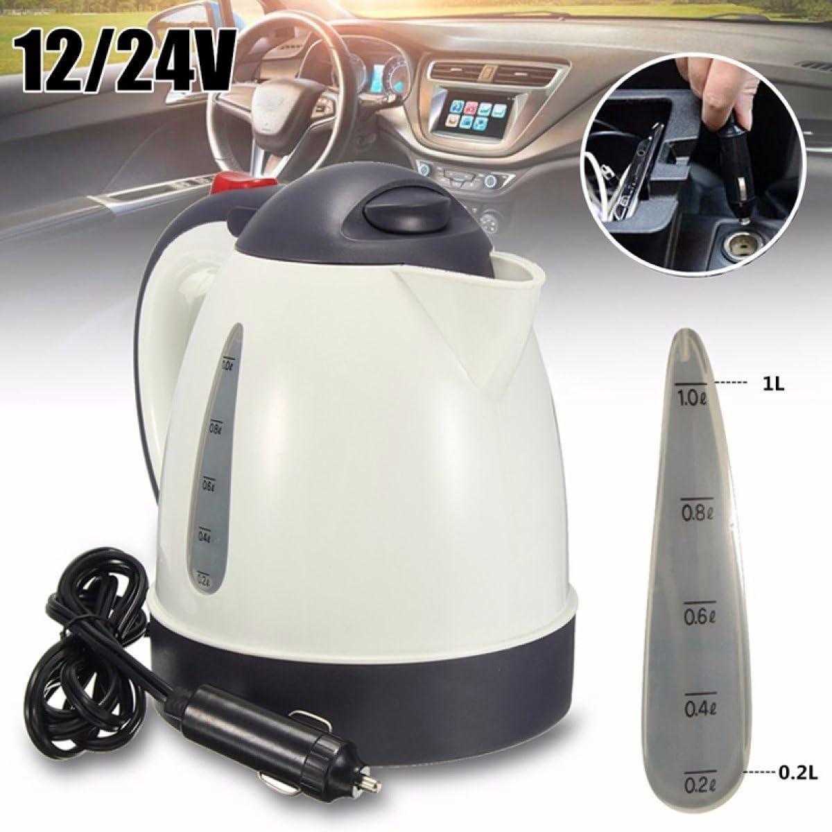 Blanc, 12V Voiture Chaude Bouilloire Portable 1000 ML Chauffe-Eau Voyage Auto 12 V Pour Th/é Caf/é En Grande Capacit/é V/éhicule