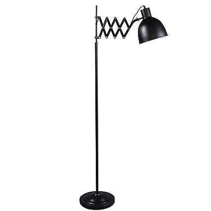 Lámpara de pie con sistema de acordeón en diseño negro ...