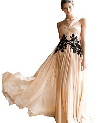 22bf41c036 Dress Coming Sexy One Shoulder Pleat Black Lace Appliques Long Chiffon Prom  Dress at Amazon Women s Clothing store