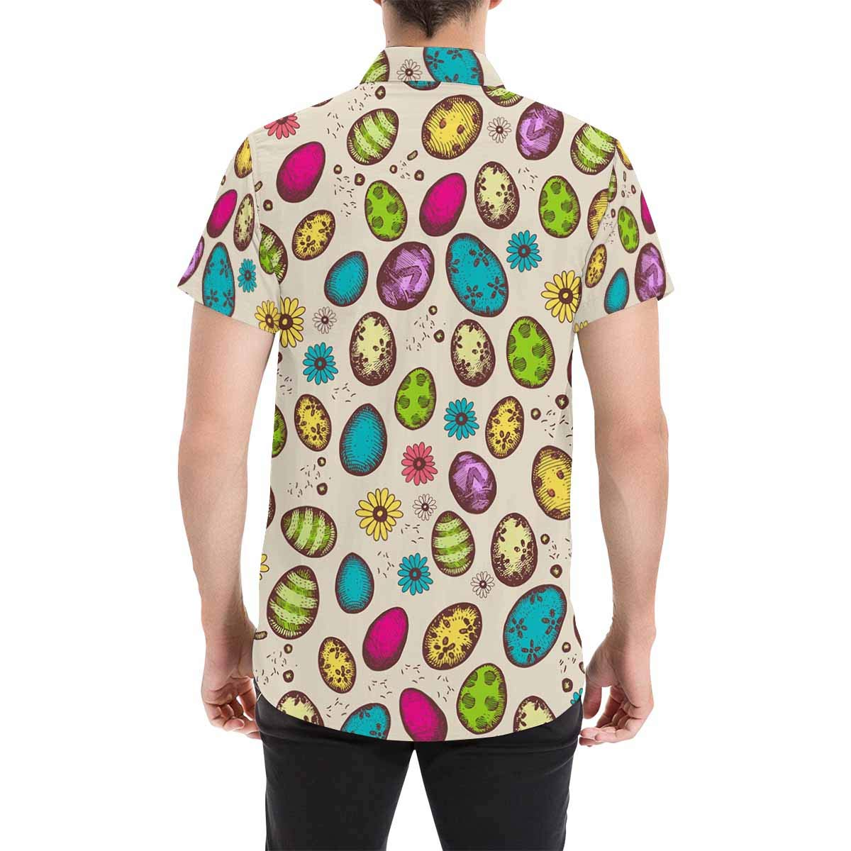 InterestPrint Mens Stand Collar Easter Bright Eggs Regular Fit Short Sleeve Casual Button Down Shirts S-5XL
