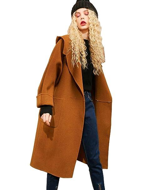Elf Sack Mujer Hecho a Mano Cachemira de Lana de Doble Cara Invierno Abrigo Largo con Capucha Chaqueta: Amazon.es: Ropa y accesorios