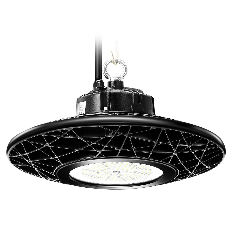 Tonffi LED Hallenstrahler 150W UFO LED Hallenleuchte Schutzart IP65 Abstrahlwinkel 120°, Kaltweiß