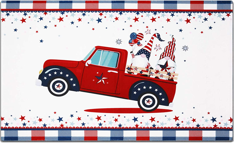 Patriotic 4th of July American Flag Doormat USA Rug Non-Slip Red Truck Gnome Floor Mat Entrance Bathroom Front Door Rug for Kitchen Bathroom Home Decor Indoor Outdoor Supplies, 16 x 24 Inch