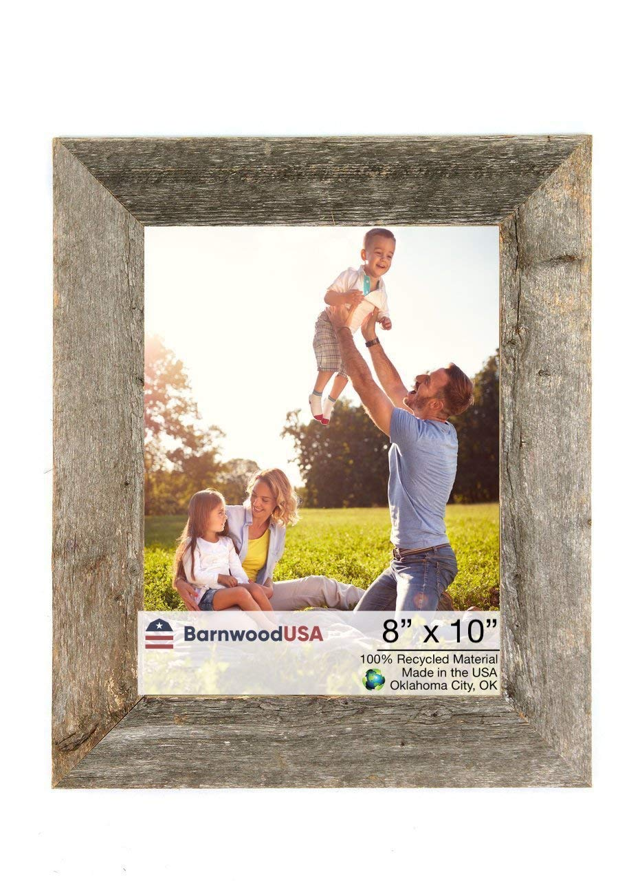 BarnwoodUSA Rustic 8x10 Inch Picture Frame 1 1/2 Inch Wide - 100% Reclaimed Wood, Weathered Gray by BarnwoodUSA