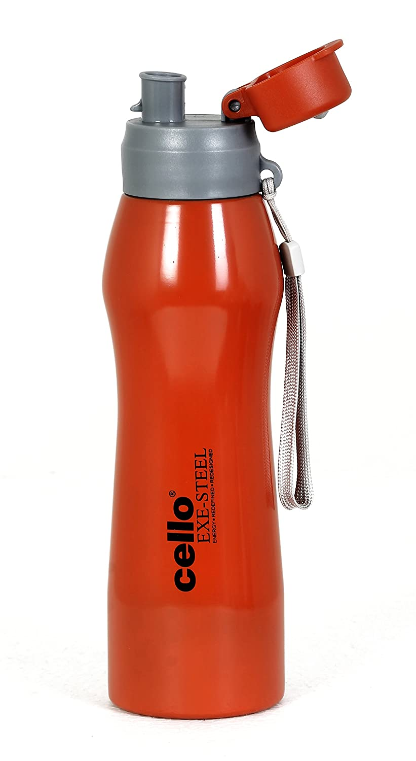 b085bd9e1a Buy Cello ExeSteel Grippy Stainless Steel Sports Bottle 1000ml, Orange  Online at Low Prices in India - Amazon.in