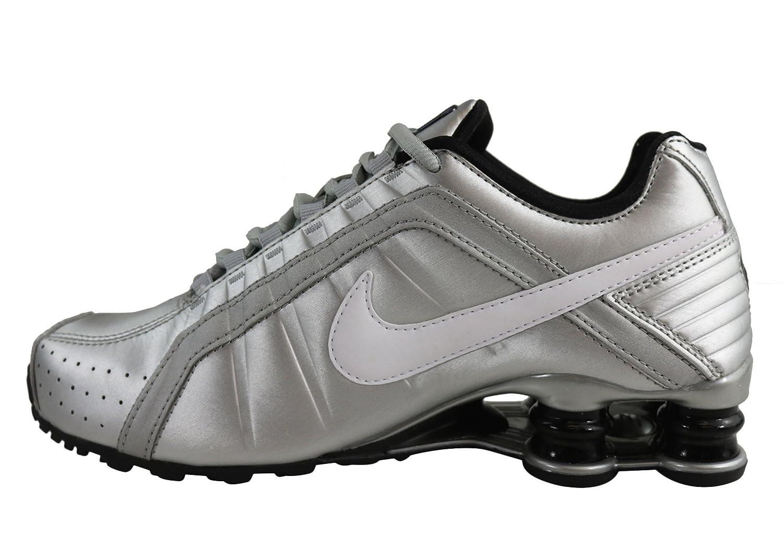 NIKE Silver/White-Black Women's Shox Junior Metallic Silver/White-Black NIKE B01ETZO4NU 8 B(M) US Silver/Black 381030