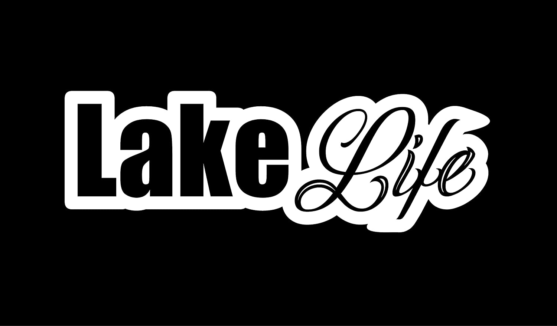 Lake Life Vinyl Decal 7.5 X 2.5 White