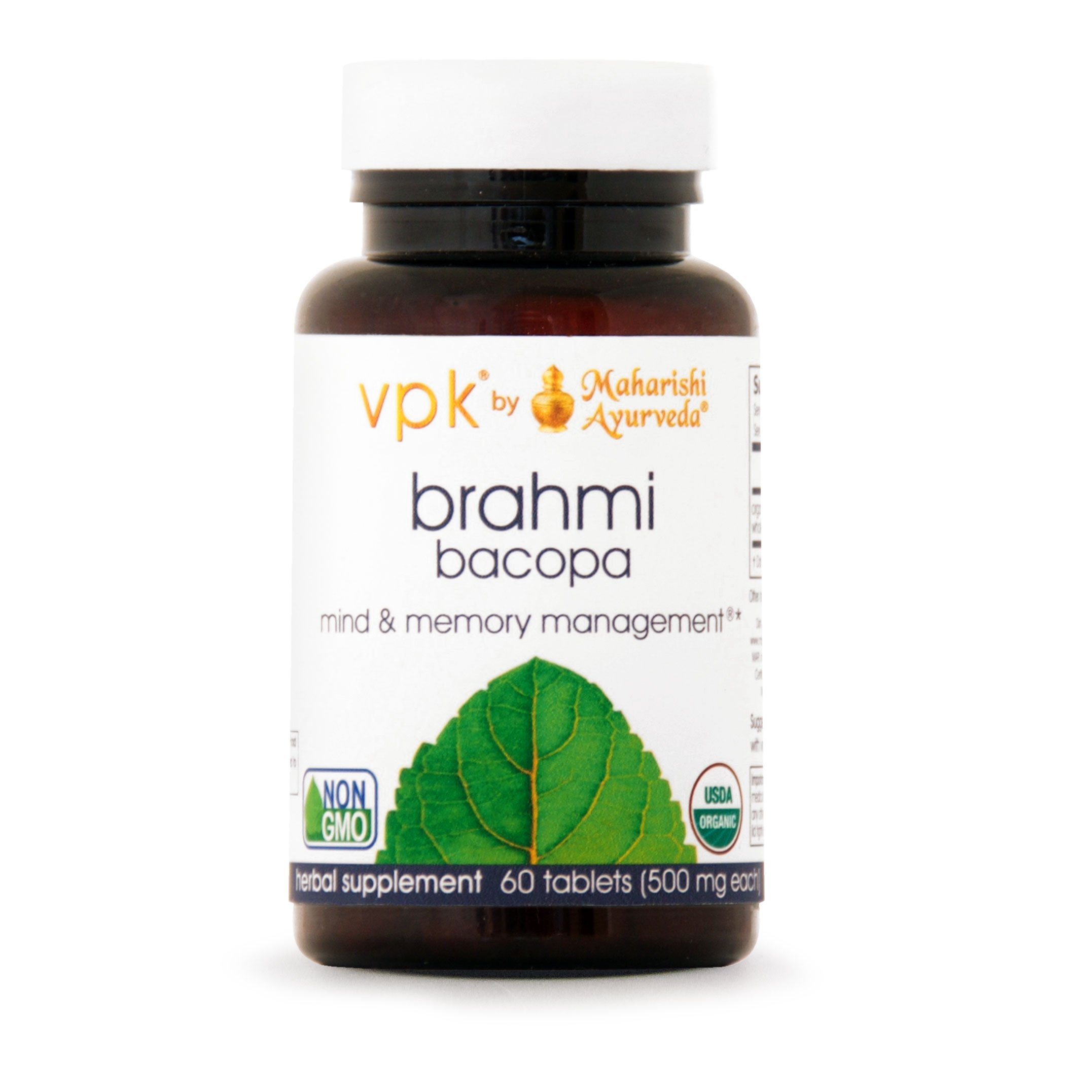 Organic Brahmi | 60 Herbal Tablets - 500 mg ea. | Natural Brain Tonic for Mental Clarity & Optimal Mental Functioning by Maharishi Ayurveda