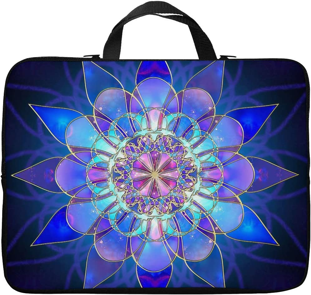 Britimes Laptop Case 14 15 15.6 inch, Purple Crystal Flower Fantasy Blue Mandala Dream Glass Glossy Shine Neoprene PC Computer Sleeve Waterproof Notebook Handle Carrying Bag