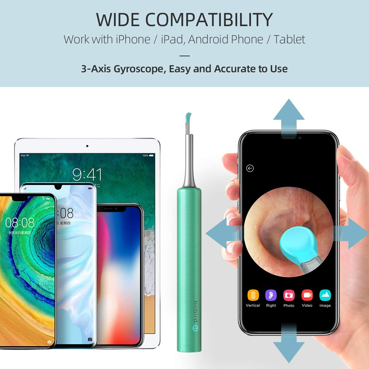 Waterproof 3-Axis Gyroscope Earwax Removal Tool for Kids Adults Work with iOS Android Phone Tablet White BEBIRD WiFi Otoscope 3.9mm Ear Cleaning Endoscope HD 1080P Wireless Ear Inspection Camera
