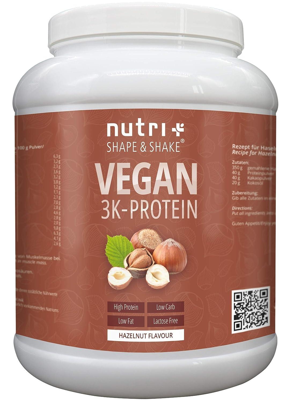 Nutri-Plus Proteinpulver Vegan Haselnuss 1kg | 83,5% Eiweiß | Nutri-Plus Shape & Shake 3k-Protein Nuss